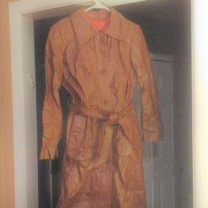 Vintage Brown Leather long women's coat size 8 vtg